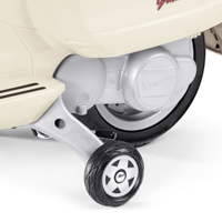 Peg Perego Vespa Scooter 12V Rubber tread wheels and training wheels.